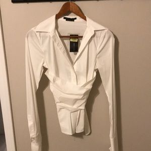 White dress shirt with obi-style wrap